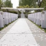 A sanctuary prepared for a wedding ceremony.