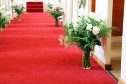 Red carpet leading up to the Altar