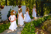 Flowergirls in wedding Procession